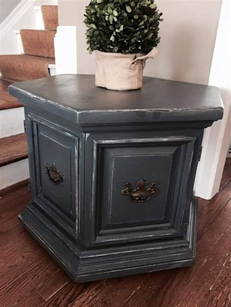 chalk paint end table hexagonal end table with storage solid wood slate chalk