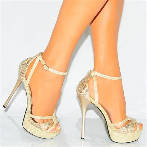 gold sandals high heels gold shimmer glitter sparkly strappy stiletto high