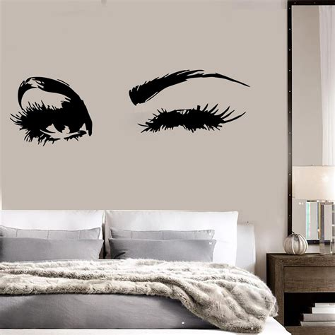 Beautiful Wall Stickers For Bedrooms Interior 10074 Beautiful Big Eye Lashes Wink Decor Wall Mural