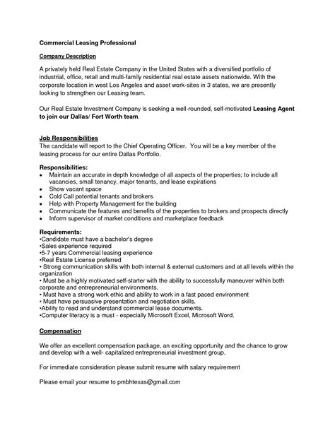 Leasing Duties by Leasing Description Resume Resume Ideas