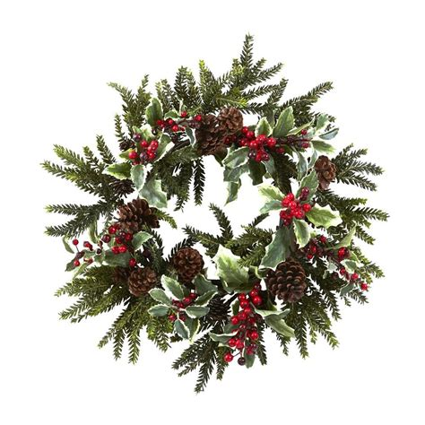 shop nearly natural holly 22 in unlit indoor berry artificial christmas wreath at lowes com