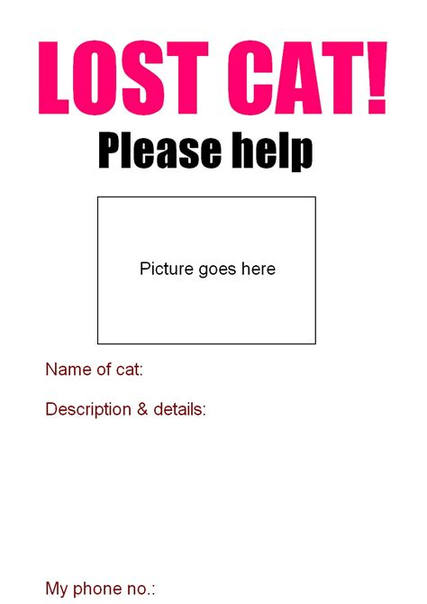 printable missing poster lost cat poster poc