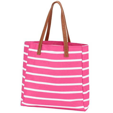Embroidered Tote Bag embroidered tote bag stripe mint pink