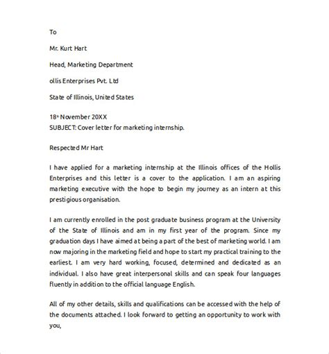 Cover Letters For Internship by Marketing Cover Letter Exle 11 Free Documents In Pdf Word