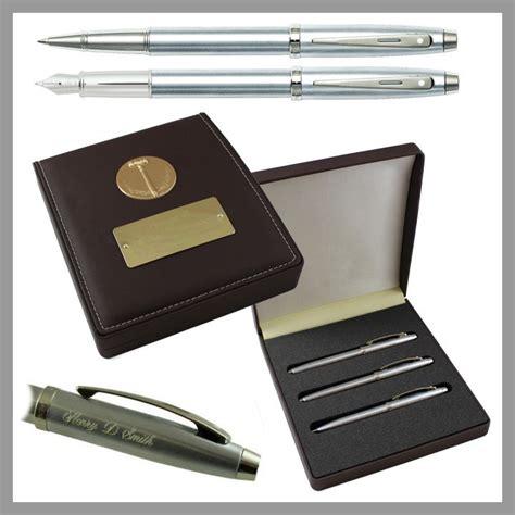desk pen sets engraved sheaffer 100 brushed chrome 3 piece presentation engraved