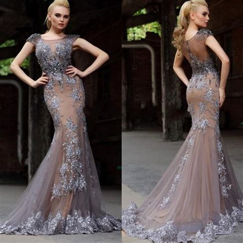 aliexpress buy dress party evening elegant green lace long sexy lace mermaid evening dress formal evening gowns gray