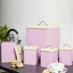 Country Kitchen Canister Sets 5pcs enamel tea coffee sugar bread bin biscuit storage jar