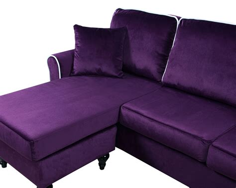 purple sectional sofa chaise traditional small space velvet sectional sofa with