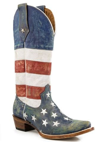 pungo ridge roper distressed american flag boots roper footwear 09 021 7001