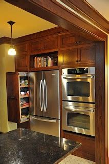 Double oven next to the fridge. Love the pull out shelf