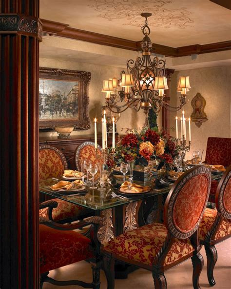 Red upholstered dining room