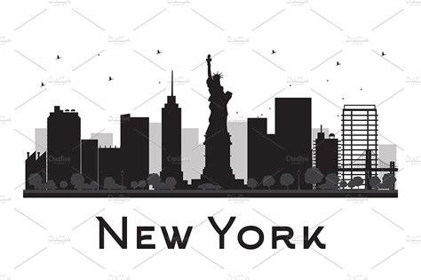 new york city skyline silhouette illustrations creative market