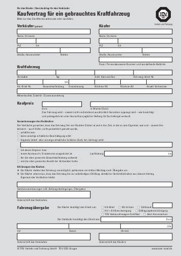 Kaufvertrag Auto Für 1 Euro by Kaufvertrag 252 Ber Ein Gebrauchtes Kraftfahrzeug Klemmer