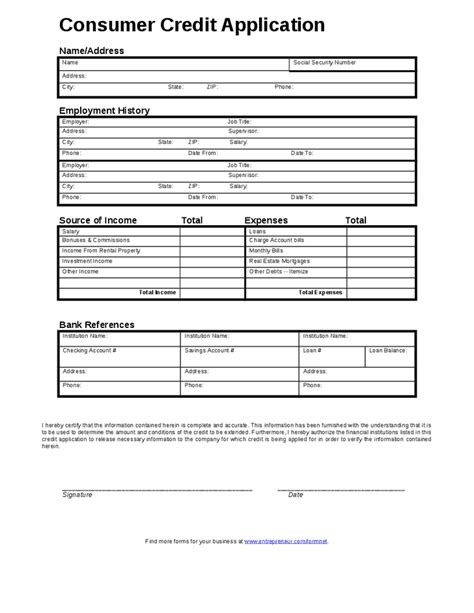 Consumer Credit Application Form Template credit application form free printable documents