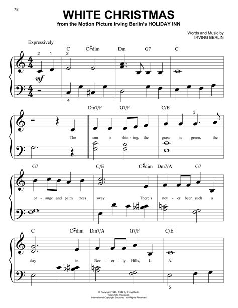 white christmas sheet music by irving berlin piano big