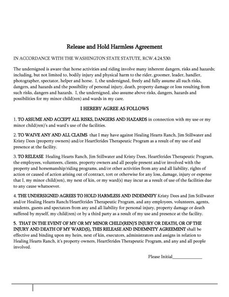Letter To Hold An Event 40 Hold Harmless Agreement Templates Free Template Lab