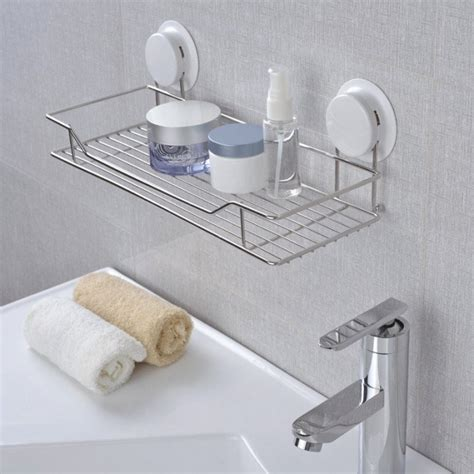 Bathroom Suction Shelves Garbath Suction Bathroom Shelf Wall Mounted Unit Stainless Steel Holder Shoo Lotion Storage