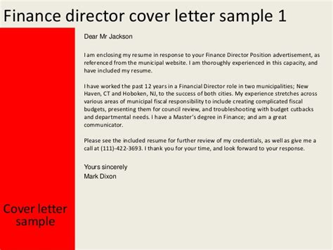 Cover Letter Finance Director Application finance director cover letter