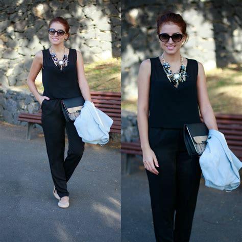 jumpsuits with flat shoes carolina gonz 225 toledo basyco necklace zara blazer