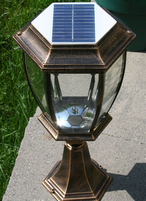 large outdoor solar powered led garden yard pillar