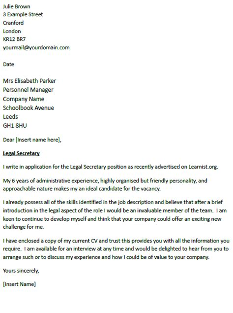 Application Letter Sample: Cover Letter Sample Legal Secretary