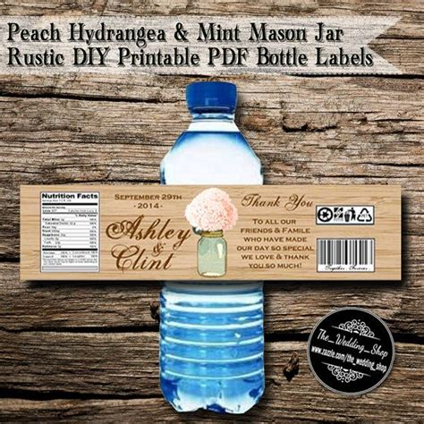 printable mason jar labels wedding peach hydrangea mint mason jar rustic wedding diy