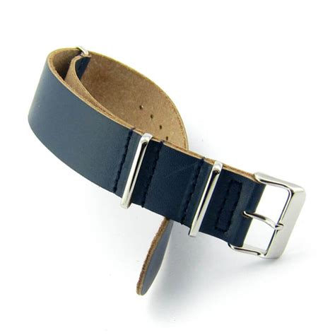 Stap Blue blue leather nato steel buckle straps house