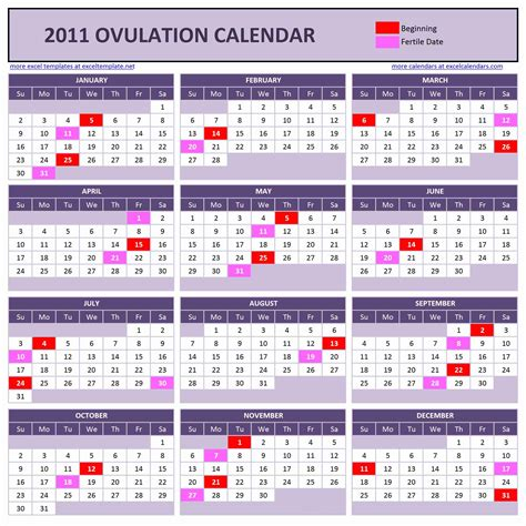 Ovulation Calendars Yearly Ovulation Calendar Excel Calendars