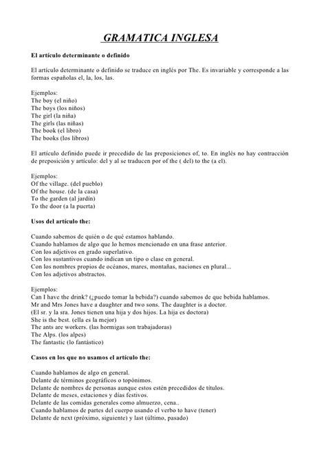 Apuntes de gramática inglesa