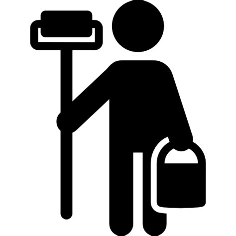 painter free painter with paint roller free icons