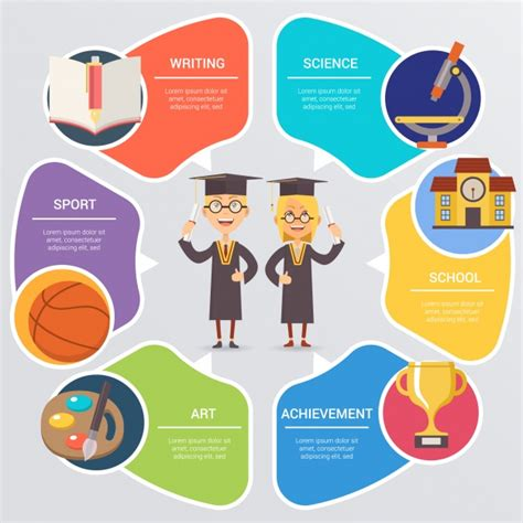 School Infographic With Students Vector Free Download Free Infographic Templates For Students