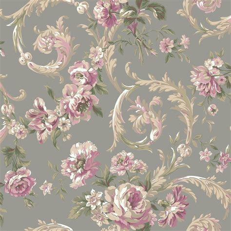 floral wallpaper for walls shimmering topaz metallic silver and pink rococco floral