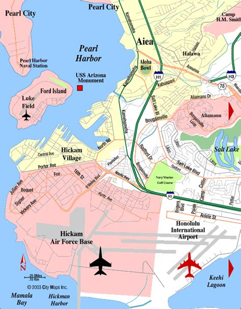 road map of pearl harbor hnl honolulu international