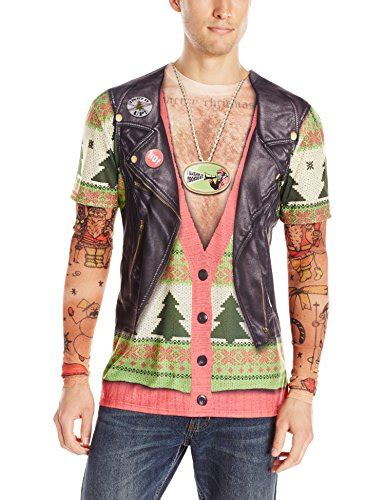 tattoo xmas shirt faux real men s biker ugly x mas sweater with tattoos t