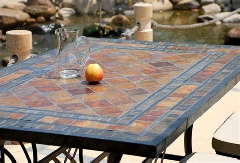 patio table with removable tiles 78 quot outdoor patio slate mosaic dining table maple
