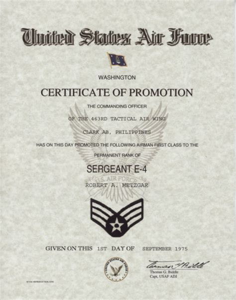 promotion certificate template air promotion certificate
