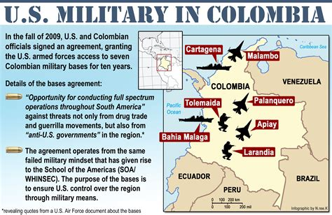 map of us bases in america colombia network statement on u s bases in