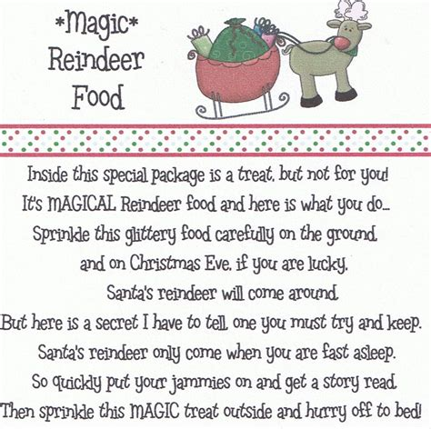 magic reindeer food poem printable new calendar template