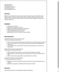 Grocery Clerk Sle Resume by Professional Grocery Store Clerk Templates To Showcase Your Talent Myperfectresume