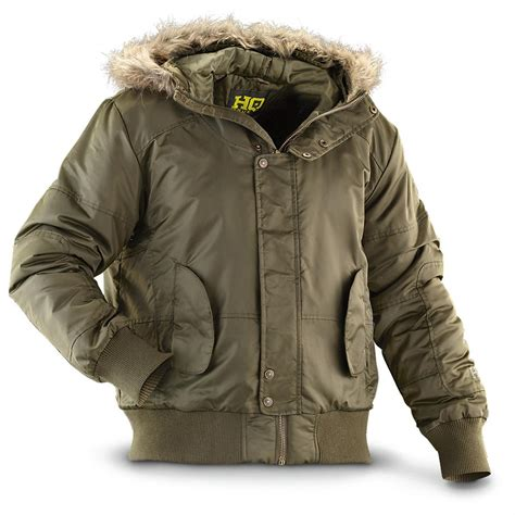 hq issue hooded bomber jacket olive 550429 insulated