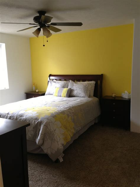 yellow accent wall basement bedroom love our yellow accent wall home