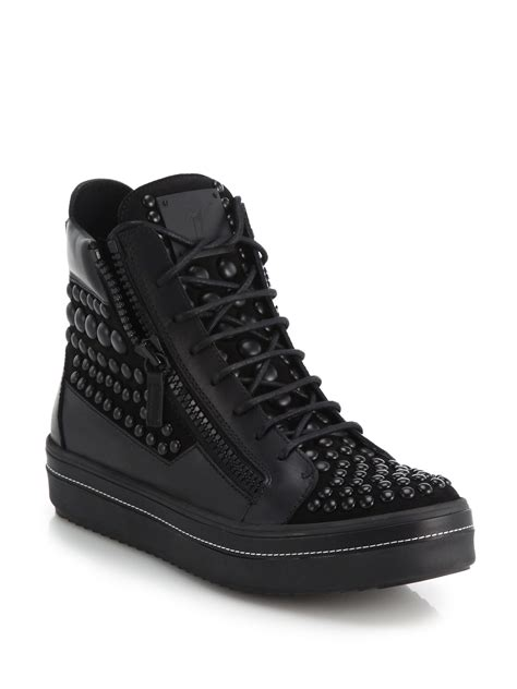 giuseppe high top sneakers lyst giuseppe zanotti studded leather high top sneakers