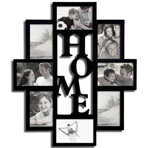 collage style picture frames adeco decorative black wood quot home quot wall hanging picture