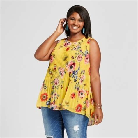 Big Ufufy Big Size Daster s plus size pleated floral shell yellow x check back soon blinq
