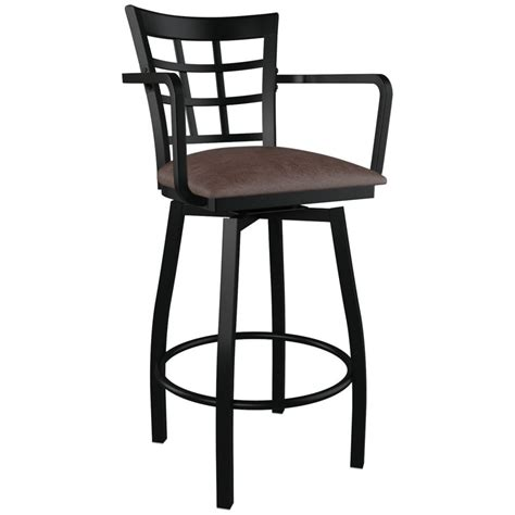 Bar Stools With Arms by Window Back Swivel Bar Stool With Arms