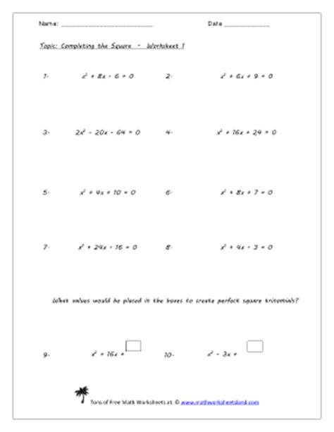 Solve By Completing The Square Worksheet by Complete The Square Worksheet Lesupercoin Printables