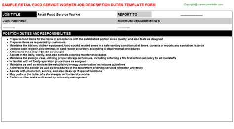 Description For Food Service Worker by Retail Food Service Worker Description Sle