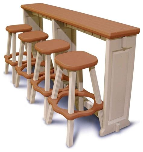 contemporary outdoor bar stools resin patio breakfast bar and stool set in redwood