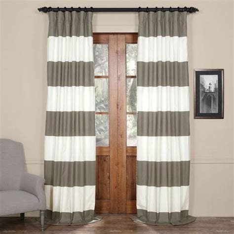 gray horizontal striped curtains slate gray and off white 50 x 96 inch horizontal stripe