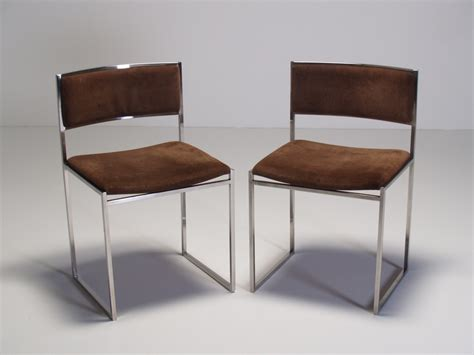 Brown Suede Dining Chairs Willy Rizzo Dining Chairs Original Chocolate Brown Suede Upholstery Chromed Steel Frames